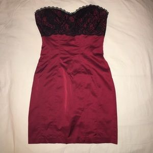 Bebe red dress with lace